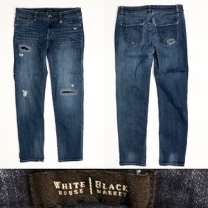 WHBM Faded Distressed Straight Crop Blue Jeans